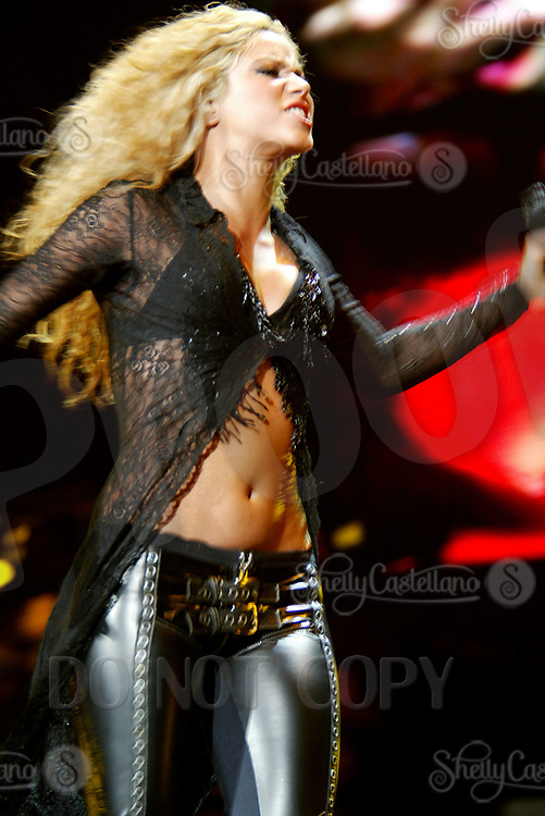 Jan 25, 2003; Las Vegas, Nevada, USA; Columbian Singer SHAKIRA in concert at the Mandalay Bay events center during her 'Tour of the Mongoose'. <br />Mandatory Credit: Photo by Shelly Castellano/ZUMA Press.<br />(©) Copyright 2003 by Shelly Castellano