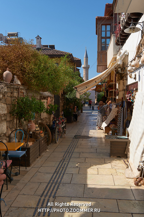 Small shops in Kaleici district narrow street in Antalya old town