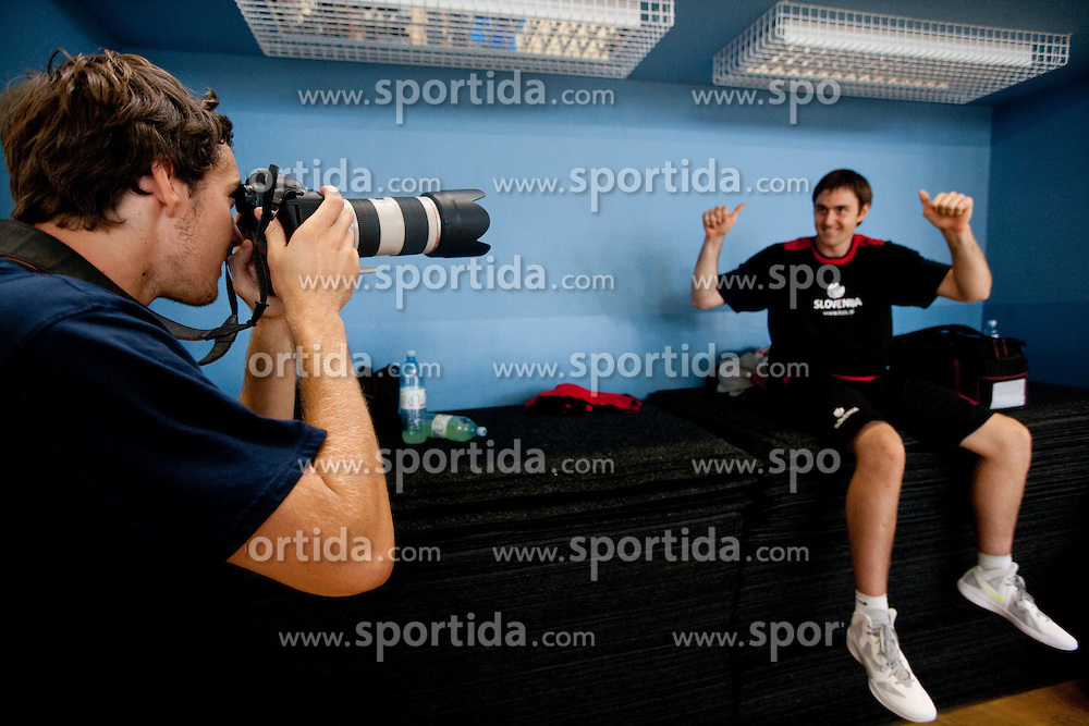 Goran Dragic photographing Erazem Lorbek during media day at training camp of Slovenian National Basketball team for Eurobasket Lithuania 2011, on July 19, 2011, in Arena Ljudski vrt, Ptuj, Slovenia.  (Photo by Vid Ponikvar / Sportida)