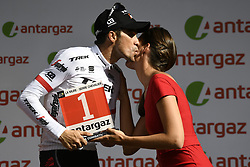 July 19, 2017 - Serre-Chevalier, FRANCE - Spanish Alberto Contador of Trek-Segafredo pictured on the podium with the combativity award for the most aggressive rider at the seventeenth stage of the 104th edition of the Tour de France cycling race, 165km from La Mure to Serre-Chevalier, France, Wednesday 19 July 2017. This year's Tour de France takes place from July first to July 23rd. BELGA PHOTO YORICK JANSENS (Credit Image: © Yorick Jansens/Belga via ZUMA Press)