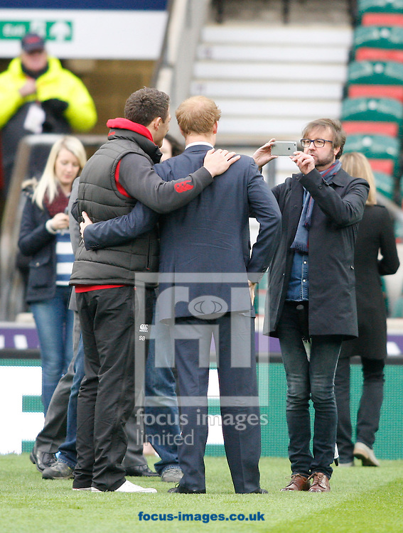 Prince Harry has a photo taken with Sam Burgess (L) during the RBS 6 Nations match at Twickenham Stadium, Twickenham<br /> Picture by Andrew Tobin/Focus Images Ltd +44 7710 761829<br /> 21/03/2015