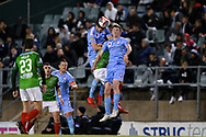 SYDNEY, AUSTRALIA - AUGUST 21: Melbourne City player Curtis Good (22) and Melbourne City player Connor Metcalfe (34) go up for the ball during the FFA Cup round of 16 soccer match between Marconi Stallions FC and Melbourne City FC on August 21, 2019 at Marconi Stadium in Sydney, Australia. (Photo by Speed Media/Icon Sportswire)