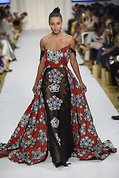 August 19, 2017 - Toronto, Ontario, Canada - A model showcasing clothes of Ofuure collection, an African fashion label featuring beautiful and versatile pieces with vibrant prints and bold patterns during the 4th day of African Fashion Week in Toronto, Canada on 19 August 2017. (Credit Image: © Arindam Shivaani/NurPhoto via ZUMA Press)