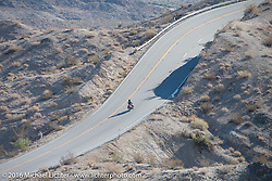 Todd Kraft riding his father Dan's 1913 Thor up the steep mountain pass just out of Palm Desert on the Palms to Pines Scenic Byway on the last day of the Motorcycle Cannonball Race of the Century. Stage-15 ride from Palm Desert, CA to Carlsbad, CA. USA. Sunday September 25, 2016. Photography ©2016 Michael Lichter.