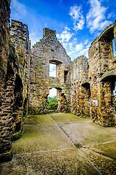 Dirleton Castle, a ruined medieval fortress in the village of Dirleton, East Lothian, Scotland.<br /> <br /> (c) Andrew Wilson   Edinburgh Elite media