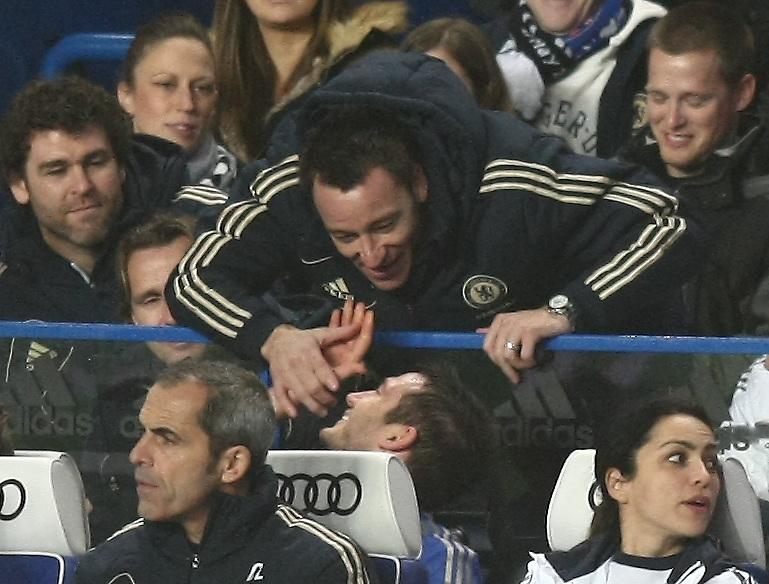 Chelsea's Frank Lampard is congratulated by his team mate John Terry ..Football - Barclays Premiership - Chelsea v Aston Villa - Sunday 23rd December 2012 - Stamford Bridge - London..