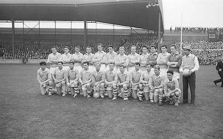 All Ireland Senior Football Final Galway v. Dublin 22nd September 1963 Croke Park...the victorious Dublin Team..Names of identified team members .Back Row Left to right  John (sean) Timmons, W Casey, M Kissane, L. Foley, L Hickey, (10th from left ) P Flynn..Front Row Left to right.D McKane, M Whelan, P Holden, N Fox, D Foley (captain), G Davey, B Mac Donald, S Behan, (10th from left) D Ferguson...Unidentified  team members.Substitutes: F McPhillips, C Kane, P Downey, A Donnelly and E Breslin...22.09.1963, 22.09.1963, 22nd September 1963.Dublin.1-9.Galway.0-10..P. Flynn, L. Hickey, L. Foley, W. Casey, D. McKane, P. Holden, M. Kissane, D. Foley (Captain), John Timmons, B. McDonald, Mickie Whelan, G. Davey, S. Behan, D. Ferguson, N. Fox..Sub: P. Downey for P. Holden..D. Foley (Captain).