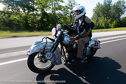 Mark Hill riding his 1940 Indian 4-cylinder in the Cross Country Chase motorcycle endurance run from Sault Sainte Marie, MI to Key West, FL (for vintage bikes from 1930-1948). Stage 4 saw a 315 mile ride from Urbana, IL to Bowling Green, KY USA. Monday, September 9, 2019. Photography ©2019 Michael Lichter.