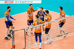 ACH Volley players celebrate during Champions League match between ACH Volley Ljubljana and Berlin Recycling Volleys<br /> , on February 12, 2020 in Hala Tivoli, Ljubljana, Slovenia. Photo by Ziga Zupan / Sportida