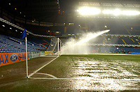 Photo: Alan Crowhurst.<br />Chelsea v Barcelona. UEFA Champions League. 22/02/2006.<br />A watering of the pitch before the game.
