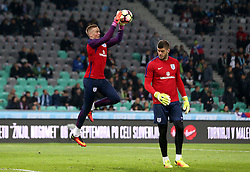 Jordan Pickford and Fraser Forster of England warm up - Mandatory by-line: Robbie Stephenson/JMP - 11/10/2016 - FOOTBALL - RSC Stozice - Ljubljana, England - Slovenia v England - World Cup European Qualifier