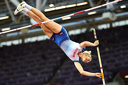 London, 2017 August 06. Holly Bradshaw, Great Britain in the in the women's pole-vault final on day three of the IAAF London 2017 world Championships at the London Stadium. © Paul Davey.