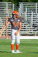 KELOWNA, BC - AUGUST 3:  Gabe Loster #44 of Okanagan Sun stands on the field during warm up against the Kamloops Broncos  at the Apple Bowl on August 3, 2019 in Kelowna, Canada. (Photo by Marissa Baecker/Shoot the Breeze)