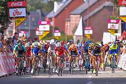 July 28, 2018 - Les Bons Villers, BELGIUM - French Romain Cardis of Direct Energie beats Belgian Michael Van Staeyen of Cofidis and Belgian Edward Planckaert of Sport Vlaanderen-Baloise at the end of the first stage of the Tour De Wallonie cycling race, 193,4 km from La Louviere to Les Bons Villers, on Saturday 28 July 2018. BELGA PHOTO LUC CLAESSEN (Credit Image: © Luc Claessen/Belga via ZUMA Press)