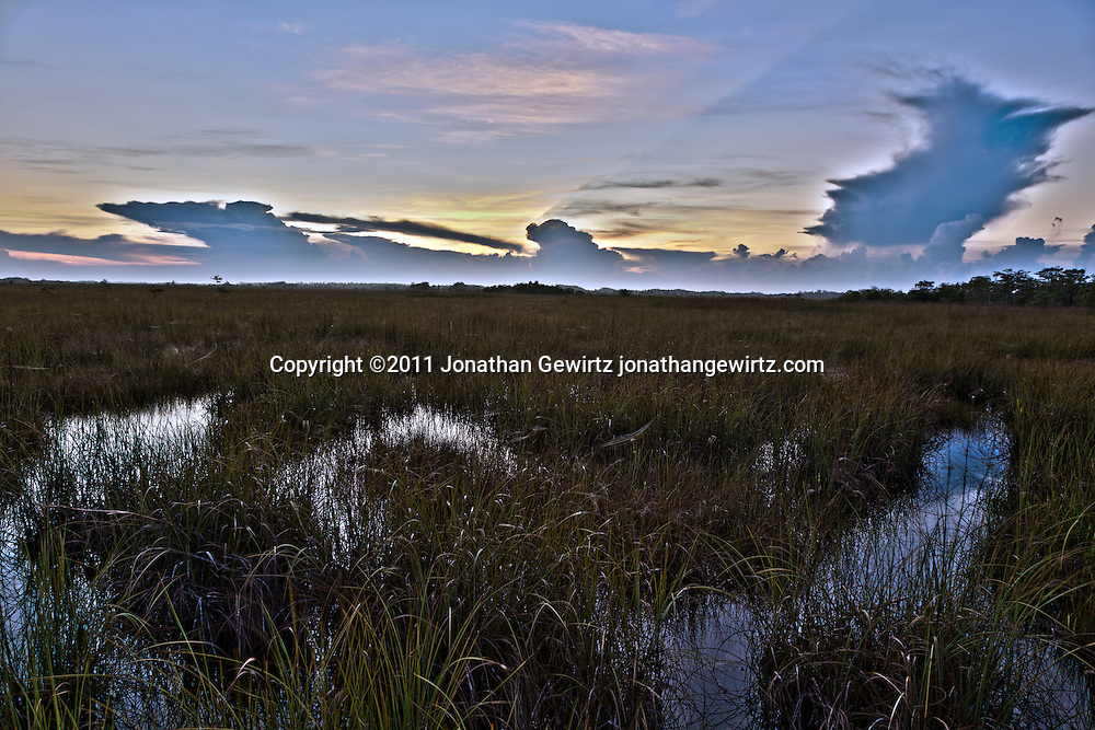 HDR view of a Florida Everglades rainy-season sunrise, looking Southeast from the Pa-hay-okee Overlook. WATERMARKS WILL NOT APPEAR ON PRINTS OR LICENSED IMAGES.