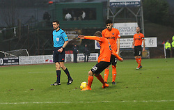 Dundee United's Blair Spittal scoring their goal. <br /> Half time : Dundee 1 v 1  Dundee United, SPFL Ladbrokes Premiership game played 2/1/2016 at Dens Park.
