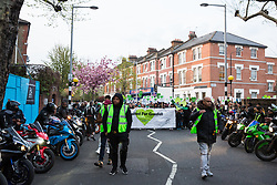 London, UK. 14th April 2019. Members of United Ride for Grenfell prepare to pay their respects to the Grenfell community and firefighters taking part in the Grenfell Silent Walk around North Kensington on the monthly anniversary of the fire on 14th June 2017. 72 people died in the Grenfell Tower fire and over 70 were injured.