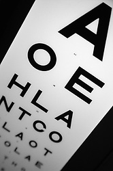 Alphabetical eye testing chart,