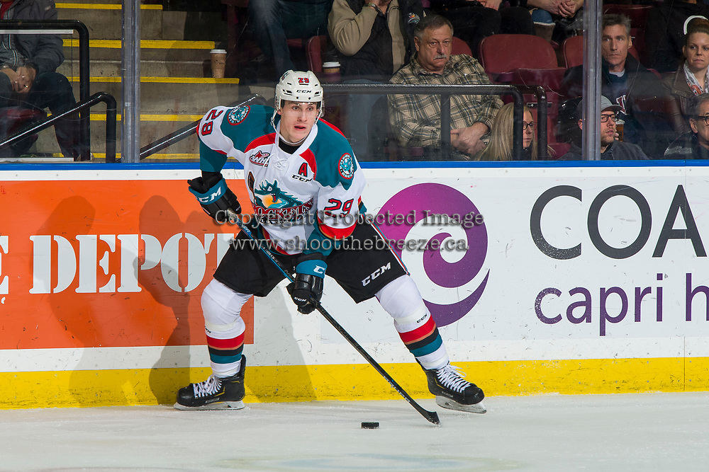 KELOWNA, BC - JANUARY 26: Nolan Foote #29 of the Kelowna Rockets skates with the puck and looks for the pass against the Vancouver Giants at Prospera Place on January 26, 2019 in Kelowna, Canada. (Photo by Marissa Baecker/Getty Images)
