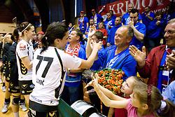 Ana Gros and Andrea Lekic of Krim with at last 10th Round handball match of Slovenian Women National Championships between RK Krim Mercator and RK Olimpija, on May 15, 2010, in Galjevica, Ljubljana, Slovenia. Olimpija defeated Krim 39-36, but Krim became Slovenian National Champion. (Photo by Vid Ponikvar / Sportida)
