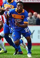 Goalscorer Jean-Louis Akpa Akpro during the Sky Bet League 2 match between Cheltenham Town and Shrewsbury Town at Whaddon Road, Cheltenham, England on 25 April 2015. Photo by Alan Franklin.