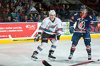 KELOWNA, CANADA - MARCH 26: Tomas Soustal #15 of Kelowna Rockets looks for the pass against the Kamloops Blazers on March 26, 2016 at Prospera Place in Kelowna, British Columbia, Canada.  (Photo by Marissa Baecker/Shoot the Breeze)  *** Local Caption *** Tomas Soustal;