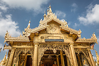 Shwedagon Pagoda is full of gorgeous architecture and worshippers in central Yangon.