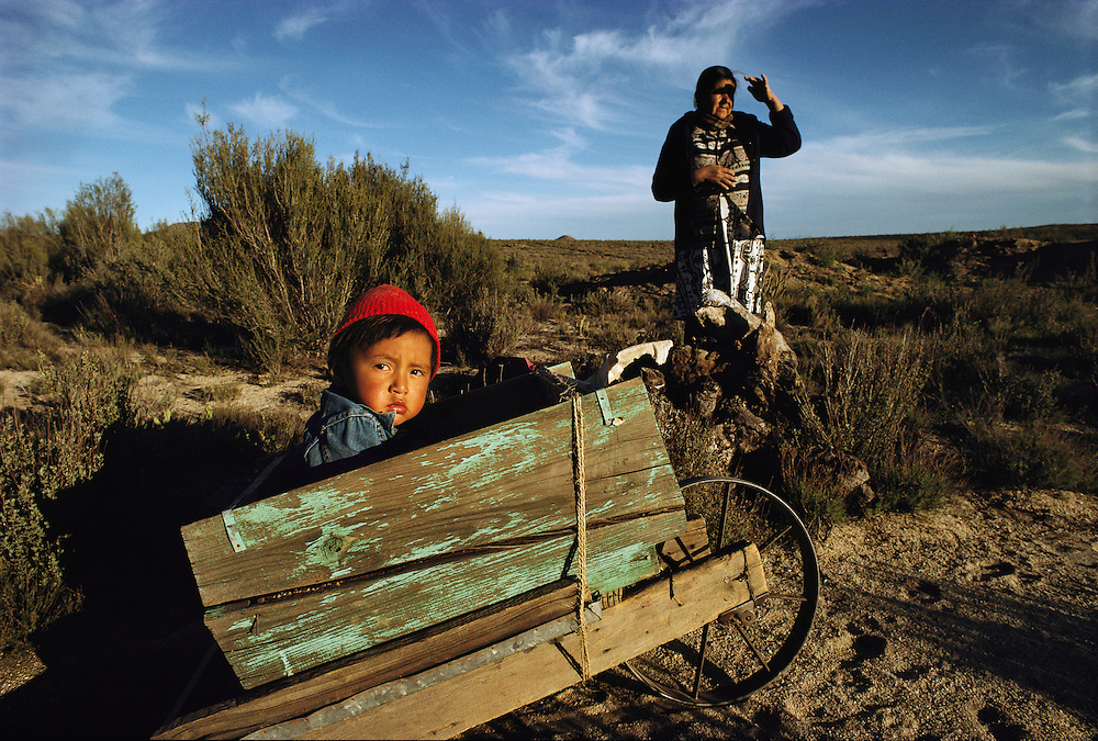 A young boy in a small cart in Baja California.