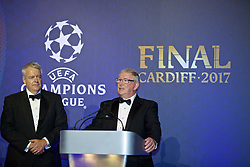 CARDIFF, WALES - Wednesday, August 31, 2016: FAW President David Griffiths with First Minister of Wales Carwyn Jones during a gala dinner at the Cardiff Museum to launch the UEFA Champions League Finals 2017 to be held in Cardiff. (Pic by David Rawcliffe/Propaganda)