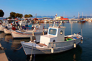 Local fishing boats in the port of Aegina, Greek Saronic Islands ..<br /> <br /> If you prefer to buy from our ALAMY PHOTO LIBRARY  Collection visit : https://www.alamy.com/portfolio/paul-williams-funkystock/aegina-greece.html <br /> <br /> Visit our GREECE PHOTO COLLECTIONS for more photos to download or buy as wall art prints https://funkystock.photoshelter.com/gallery-collection/Pictures-Images-of-Greece-Photos-of-Greek-Historic-Landmark-Sites/C0000w6e8OkknEb8