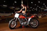 Crystal Peak with Harley Davidson flat track race bike owned by Gerald Tims at Lazy E Arena flat track races