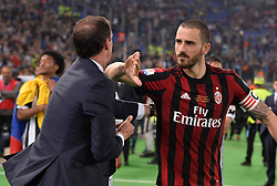 May 9, 2018 - Rome, Italy - Leonardo Bonucci greets Massimiliano Allegri after the Tim Cup Final football match F.C. Juventus vs A.C. Milan at the Olympic Stadium in Rome, on May 09, 2018  (Credit Image: © Silvia Lore/NurPhoto via ZUMA Press)