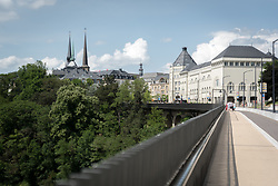 Notre-Dame Cathedral, Luxembourg (left) and Cité Judiciaire (city court) (right), in Ville Haute.