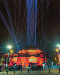 My Light Shines On, Edinburgh International Festival, Edinburgh 07 August 2020; Lights are shone into the sky across the city to celebrate Edinburgh International Festival 2020<br /> <br /> Dave Cullen; EEm 7 Auguust 2020