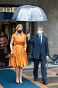 """DEN HAAG, 01-10-2020, SER<br /> <br /> Koningin Maxima tijdens het jubileumcongres '70 jaar SER: Verbinding in samenleving' in Den Haag. Het congres wordt georganiseerd ter gelegenheid van het 70-jarig bestaan van de Sociaal-Economische Raad.<br /> <br /> Queen Maxima during the anniversary conference """"70 years SER: Connection in society"""" in The Hague. The congress is organized on the occasion of the 70th anniversary of the Social and Economic Council."""