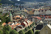 View over rooftops of city centre buildings in Bergen, Norway