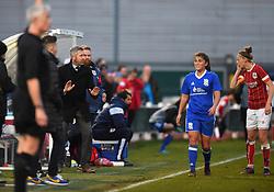 Willie Kirk manager of Bristol City Women gives instructions to Yana Daniels of Bristol City Women - Mandatory by-line: Paul Knight/JMP - 28/03/2018 - FOOTBALL - Stoke Gifford Stadium - Bristol, England - Bristol City Women v Birmingham City Ladies - FA Women's Super League