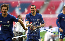Chelsea's Davide Zappacosta (centre) celebrates after the final whistle during the Emirates FA Cup Final at Wembley Stadium, London.