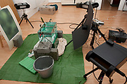 Studio set-up for high speed photography of Common Frog, Rana temporaria,  leaping into pond environment