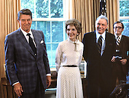 President Ronald Reagan, First Lady Nancy Reagan and Frank Sinatra in the Oval Office...Photograph by Dennis Brack bb23