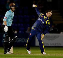 Glamorgan's Colin Ingram in action today <br /> <br /> Photographer Simon King/Replay Images<br /> <br /> Vitality Blast T20 - Round 14 - Glamorgan v Surrey - Friday 17th August 2018 - Sophia Gardens - Cardiff<br /> <br /> World Copyright © Replay Images . All rights reserved. info@replayimages.co.uk - http://replayimages.co.uk