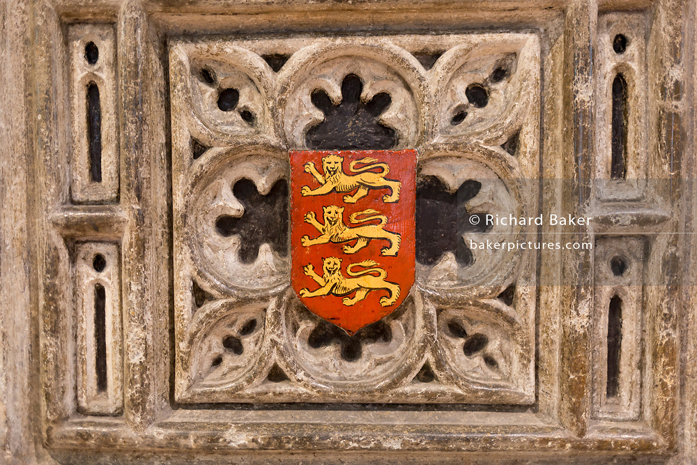 A detail of King John's tomb (1167-1216), showing the Royal Arms of England (the arms of the Plantagenet dynasty) with three lions, in Worcester Cathedral, on 23rd June 2019, in Worcester, England. King John was the fourth and youngest son of Henry II. The Royal Arms of England are the arms first adopted in a fixed form at the start of the age of heraldry (circa 1200) as personal arms by the Plantagenet kings who ruled England from 1154. In the popular mind they have come to symbolise the nation of England.