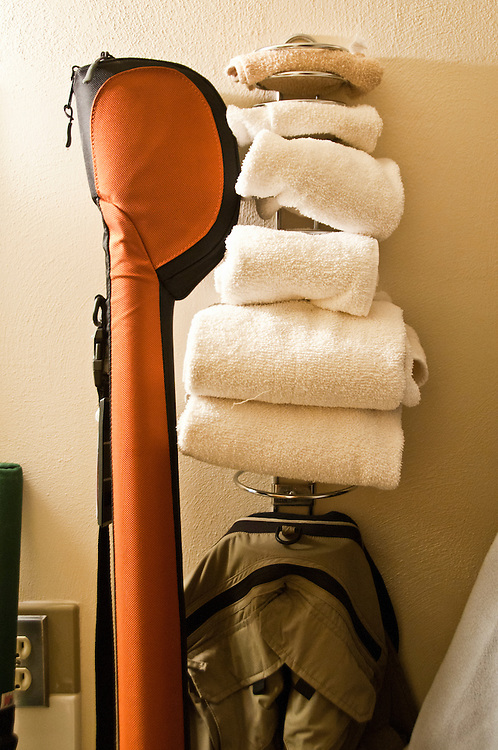 Fly fishing equipment at a small motel during a fishing road trip to the Driftless Area of Southwest Wisconsin.