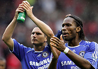 Photo: Paul Thomas.<br /> Liverpool v Chelsea. The FA Barclays Premiership. 19/08/2007.<br /> <br /> Chelsea's Didier Drogba (R) and Frank Lampard thank their travelling fans.