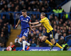 Gary Cahill of Chelsea is put under pressure by Kevin van Veen of Scunthorpe United - Mandatory byline: Robbie Stephenson/JMP - 10/01/2016 - FOOTBALL - Stamford Bridge - London, England - Chelsea v Scunthrope United - FA Cup Third Round