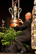 Waipapa 9 trust's name is added tot eh base of the throphy at the 2010 Ahuwhenua Trophy  Bank of New Zealand Maori Excellence in Farming competition awards dinner held at the Taupo Event Centre, Taupo. Friday 28 May 2010.<br /> <br /> ***FREE FOR EDITORIAL USE***<br /> <br /> PHOTO COURTESY: ahuwhenuatrophy.co.nz