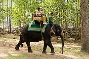19 MARCH 2006 - SIEM REAP, SIEM REAP, CAMBODIA: Tourists ride through the Angkor Wat complex atop an elephant.  Photo by Jack Kurtz / ZUMA Press