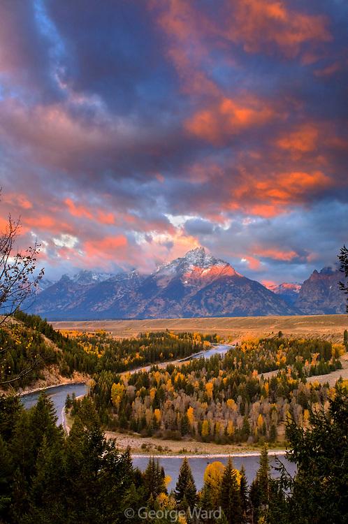 Colorful Dawn at Snake River Overlook, Grand Teton National Park, Wyoming