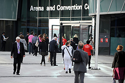 © Licensed to London News Pictures. 27/09/2011. LONDON, UK. Delegates arrive at the conference centre. The Labour Party Conference in Liverpool today (27/09/11). Photo credit:  Stephen Simpson/LNP