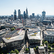 London's skyline as seen from the top of the dome of St Paul's Cathedral. The new construction of skyrises in the City of London is in the background.